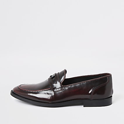 Dark red leather loafers
