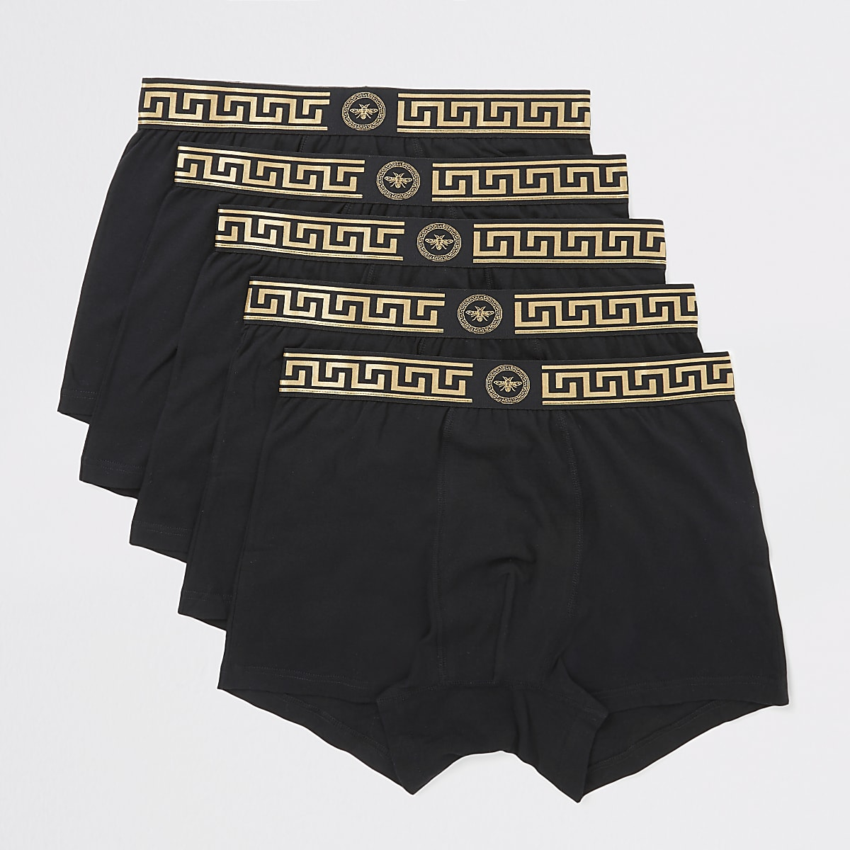 Black gold print trim trunks 5 pack