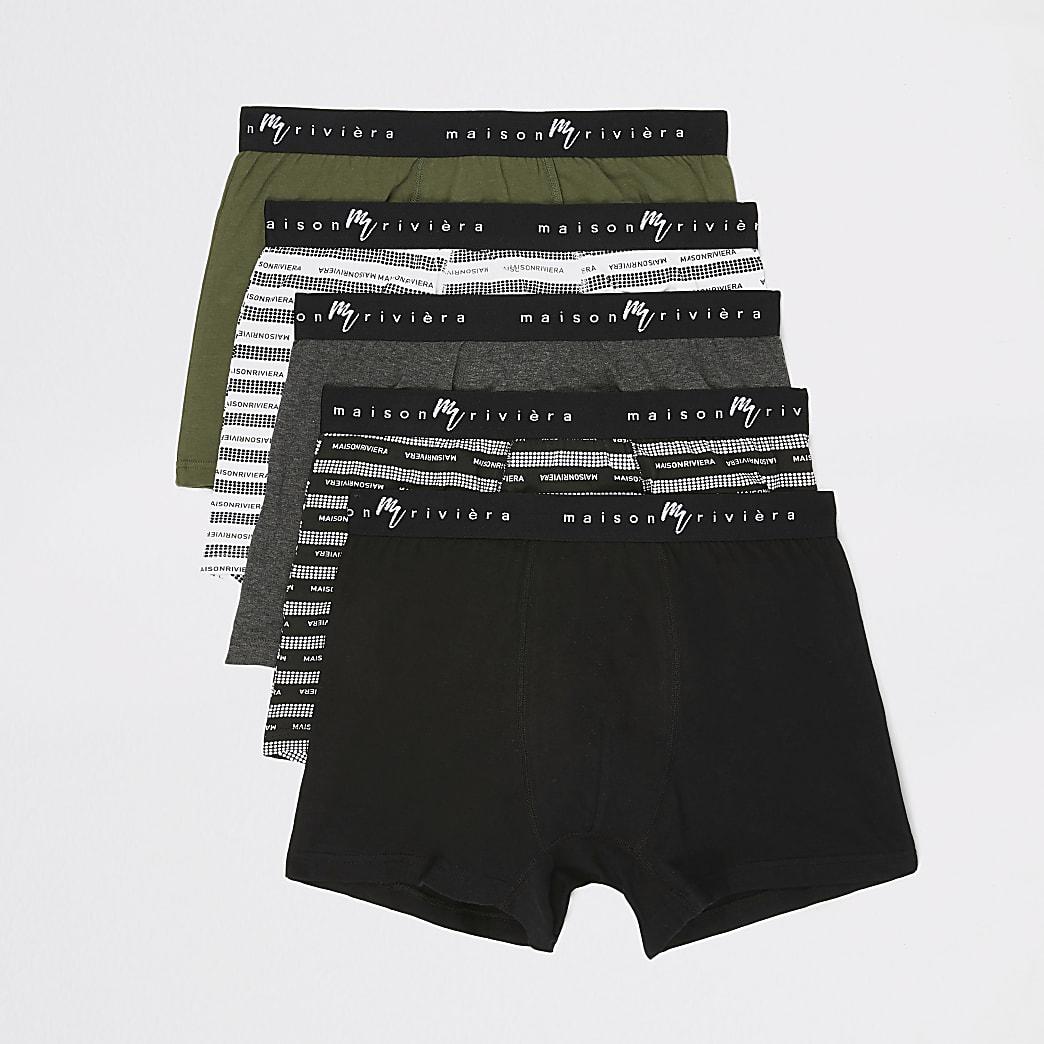 Khaki Maison Riviera printed trunks 5 pack