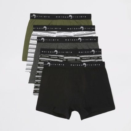 Khaki Maison Riviera printed trunks 5 pack