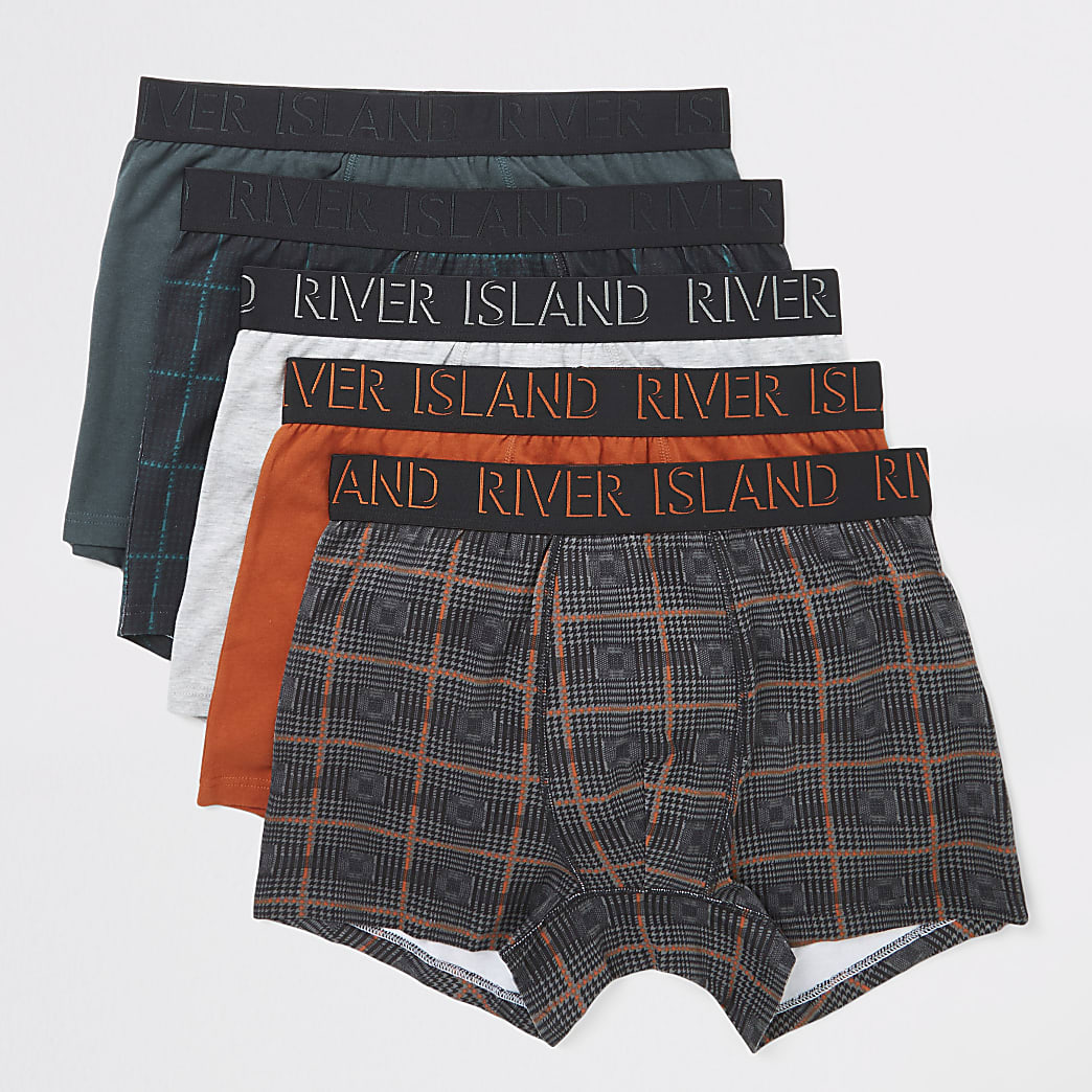 Orange check printed trunks 5 pack
