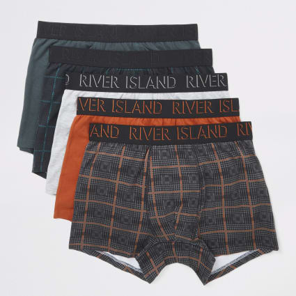 Orange check printed trunks 5 pack