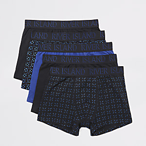 Navy foiled printed trunks 5 pack