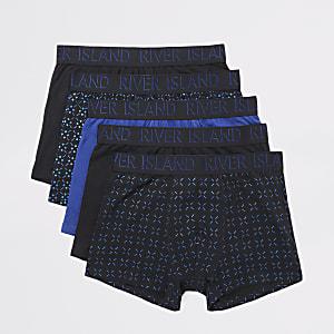 Set van 5 marineblauwe strakke boxers en met folieprint