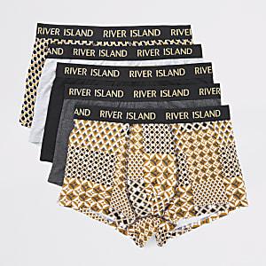 Set van 5 goudkleurige en metallic strakke boxers met RI-band