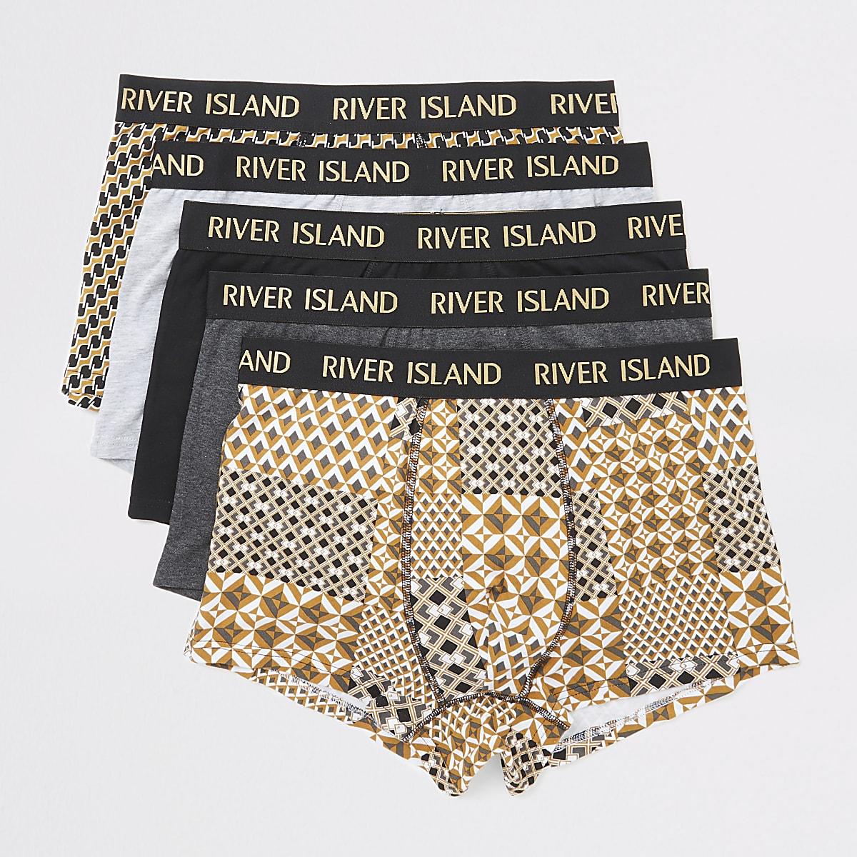 Lot de 5 boxers longs noirs et RI dorés métallisés