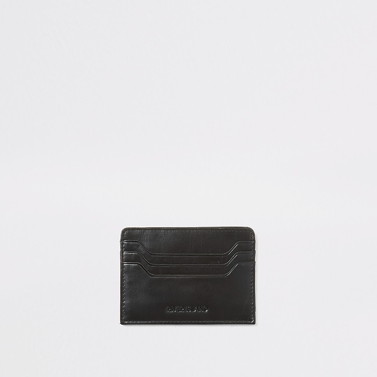 Black distressed leather card holder