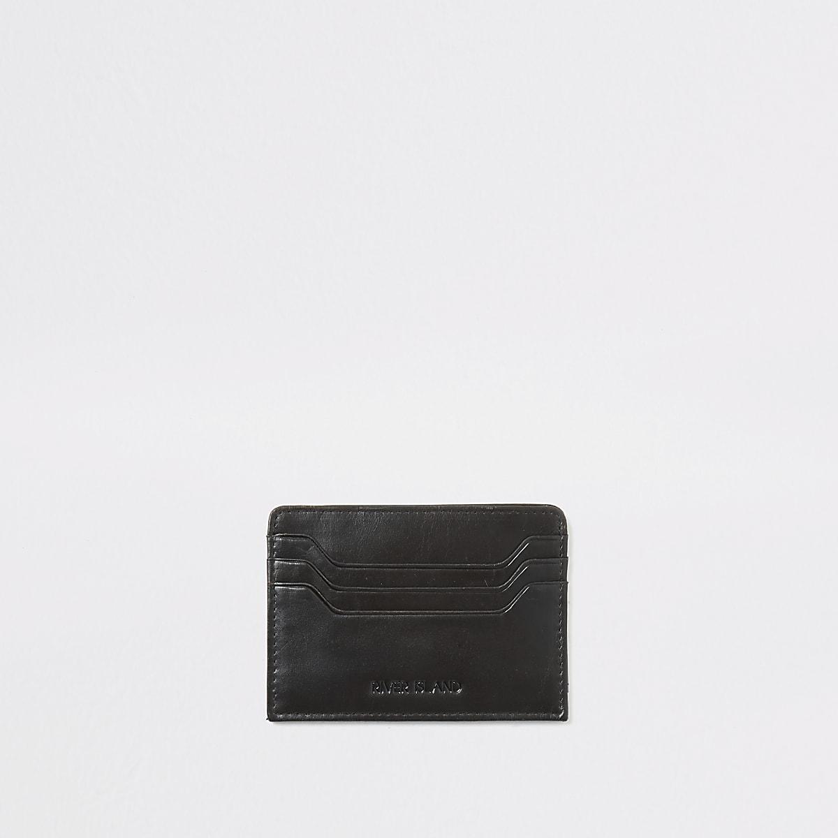 Porte-cartes noir en cuir aspectusé