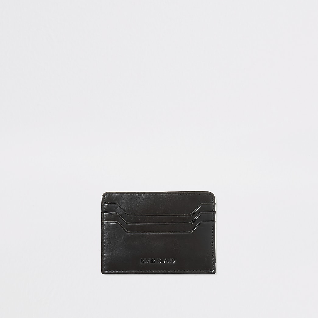 Black distressed leather card holder