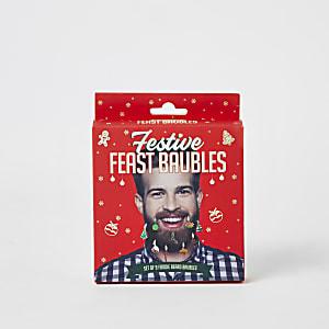 Festliches Weihnachtskugeln-Set für den Bart