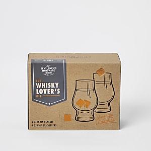 Set aus Gläsern und Eiswürfeln für Whisky-Liebhaber