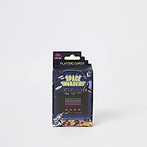 Ensemble avec boîte et cartes de jeu Space Invaders