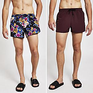 Schwarze, geblümte Shorts, Set