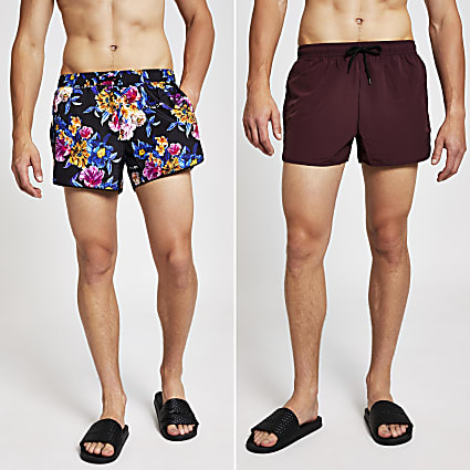 Black floral multipack swim shorts