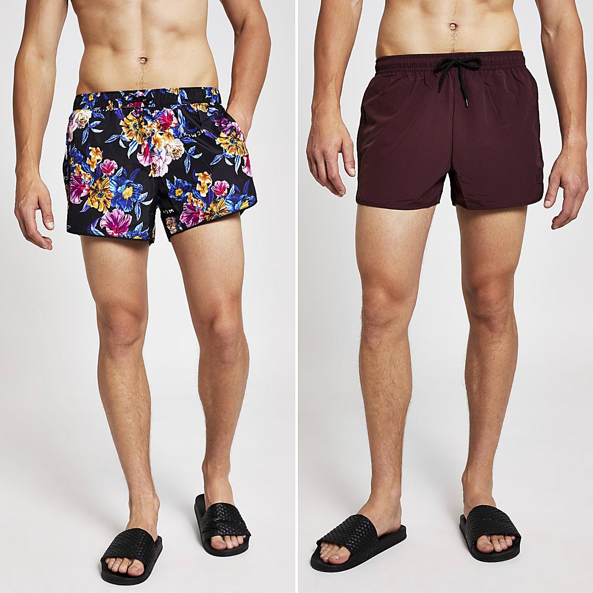 Lot de shorts de bain dont un à fleurs noir