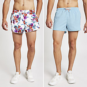 Blue floral print multipack swim shorts