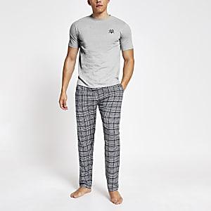 Kariertes, kurzärmeliges Loungewear-Set in Grau