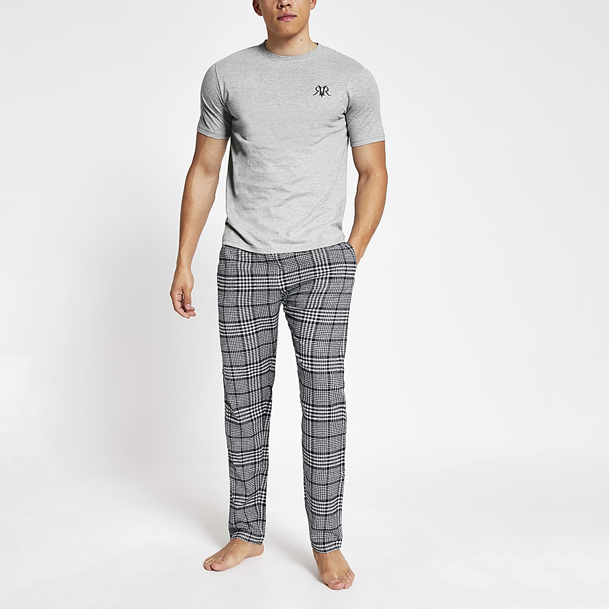 Grey check short sleeve loungewear set