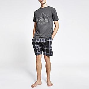 Graues, kurzes Pyjama-Set mit RVR-Print