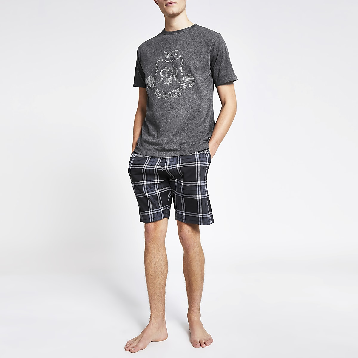 Grey RVR printed short pyjama set