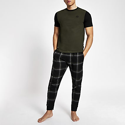 Khaki check short sleeve loungewear set