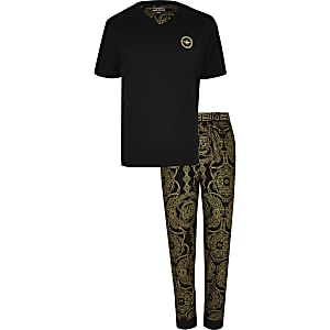 Kurzärmeliges Loungewear-Set in Schwarz mit Barockmuster