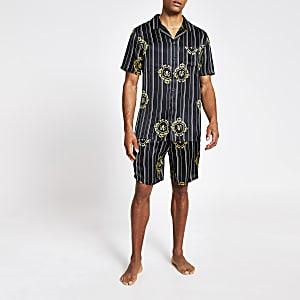 Schwarzes, kurzes Family-Pyjama-Set mit RVR-Print aus Satin