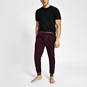 Rote Loungewear-Jogginghose mit RI-Monogramm-Muster, 2er-Set