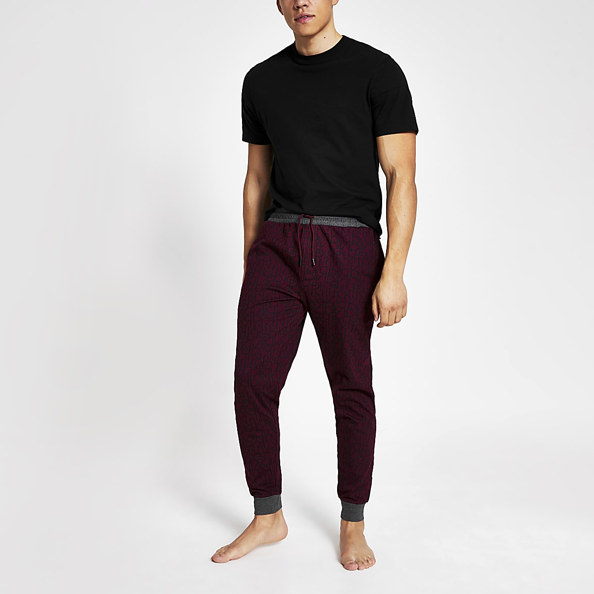 Red RI monogram jogger loungewear 2 pack