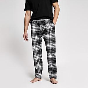 Schwarz-karierte Loungewear-Hose