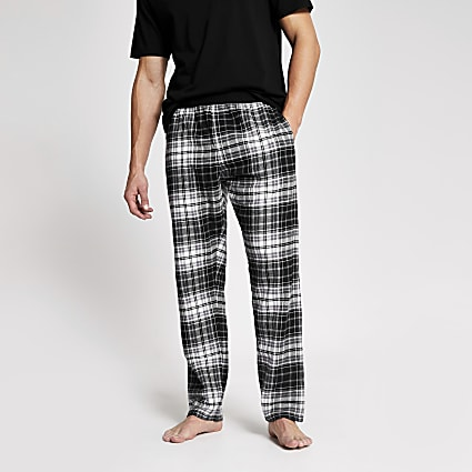 Black check loungewear trousers