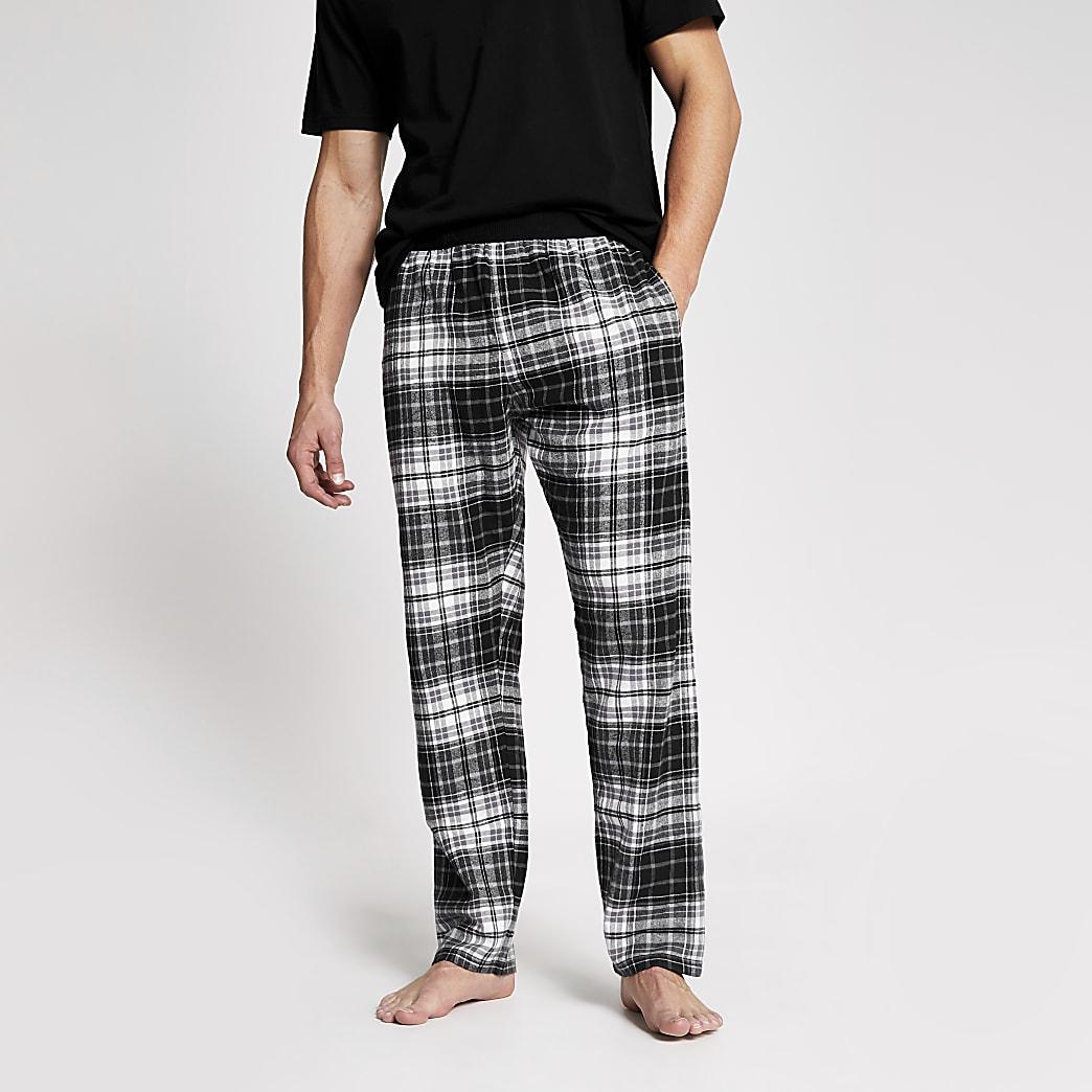 Black check loungewear trousers