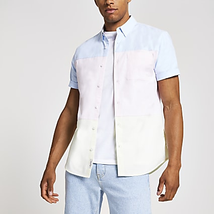 Pink short sleeve pastel blocked shirt