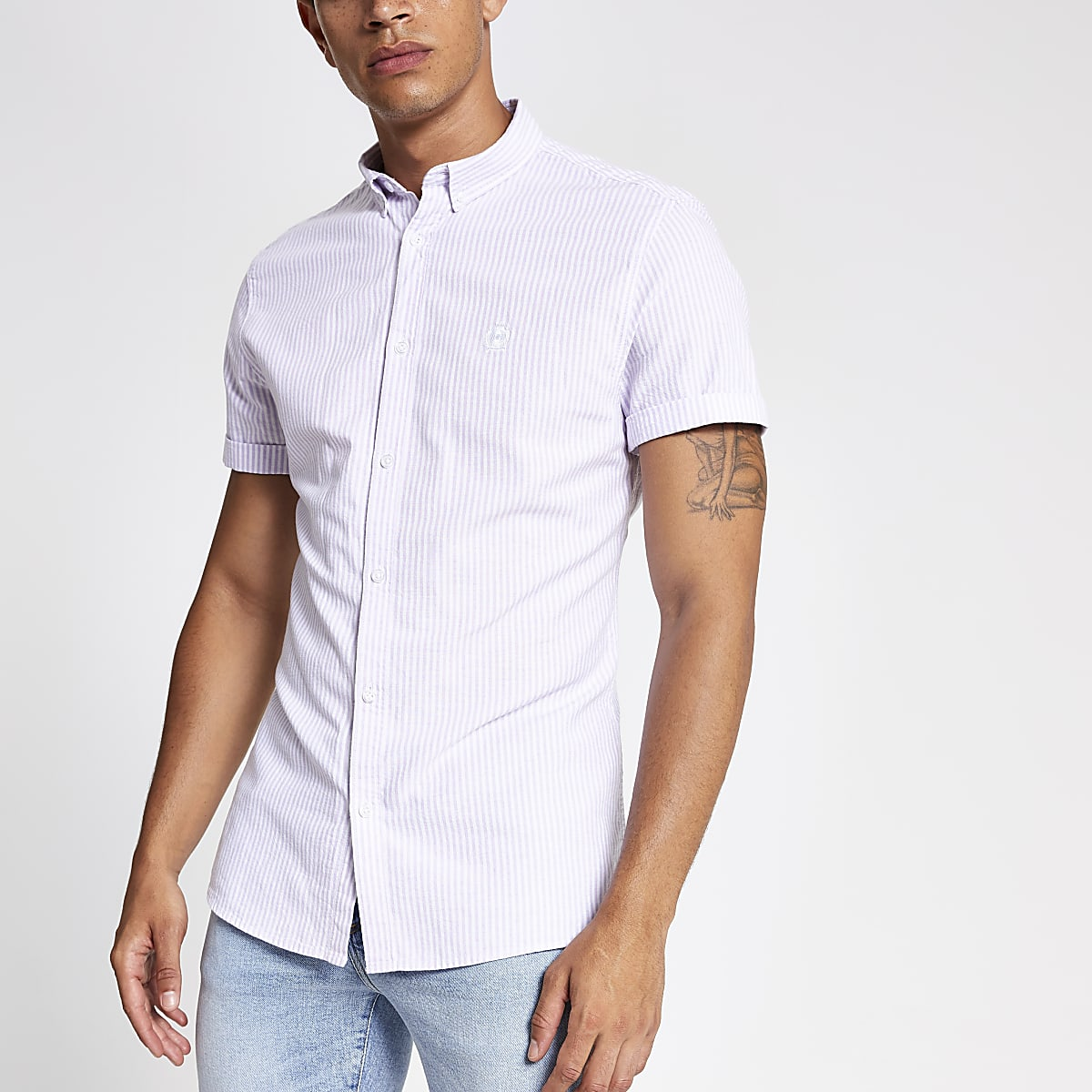 Purple stripe short sleeve slim Oxford shirt