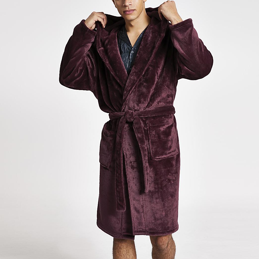Burgundy wasp embossed fleece dressing gown