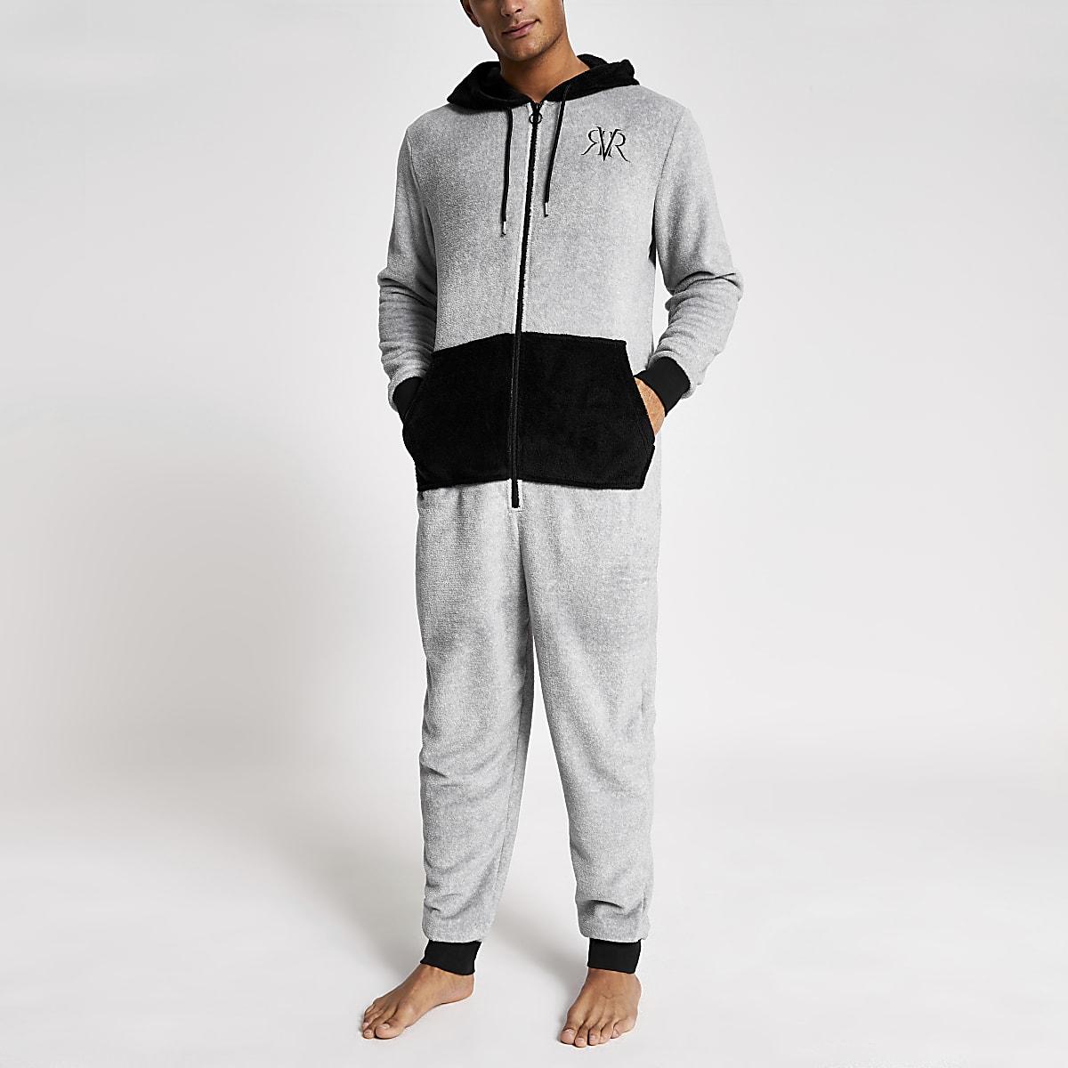 Grey RI contrast loungewear onesie