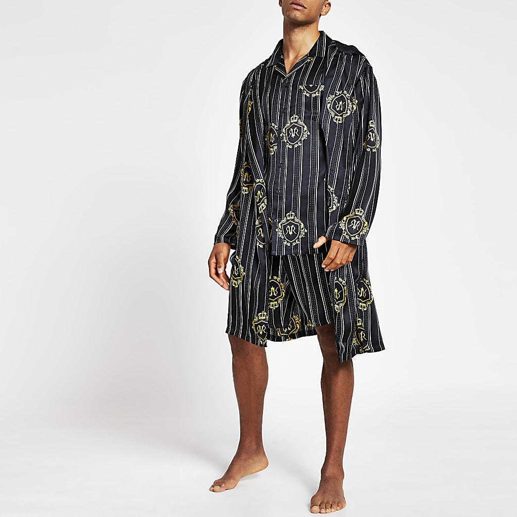 Black RVR print satin family dressing gown