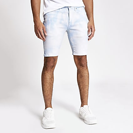 Blue acid wash Sid skinny denim shorts