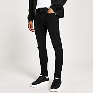 Sid - zerrissene und geflickte Skinny-Jeans in Schwarz