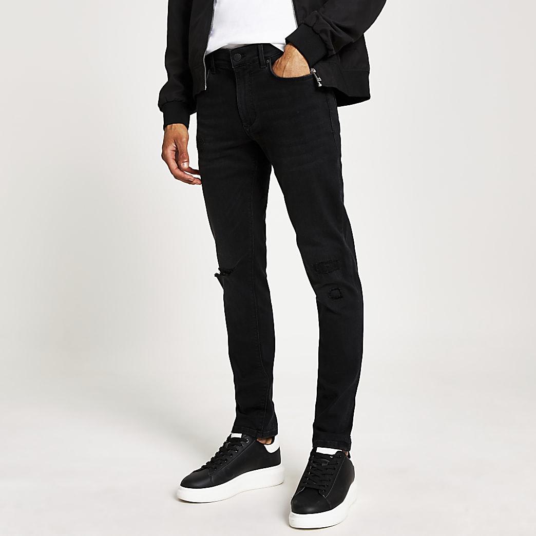 Sid - Zwarte skinny rip and repair jeans