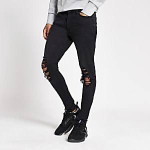 Ollie – Schwarze Skinny Spray-on-Jeans im Used-Look