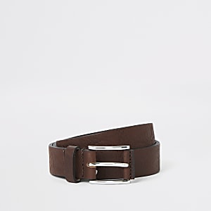Dark brown textured buckle belt