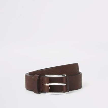 Dark brown textured buckle belt