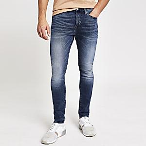 Donkerblauwe skinny stretch jeans