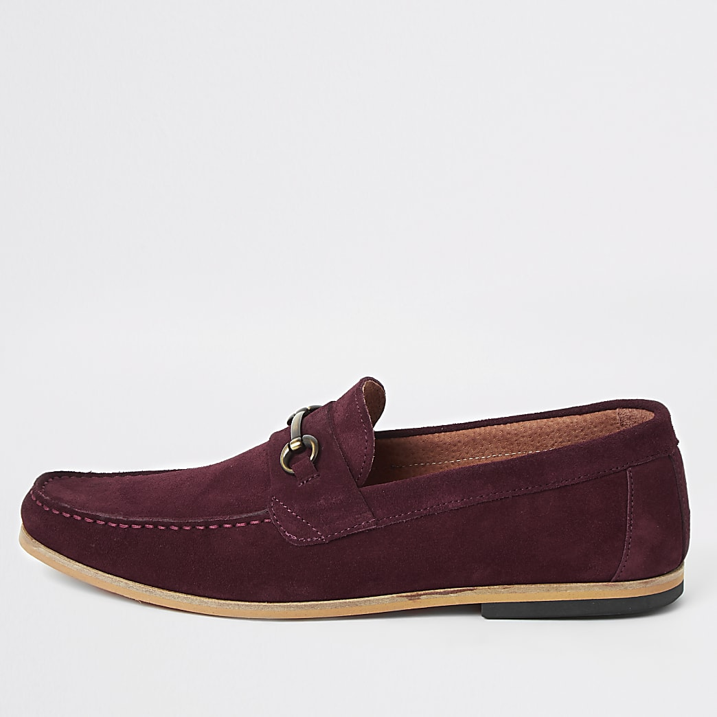 Red suede snaffle loafers