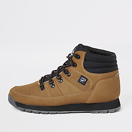 Brown lace-up hiking boot