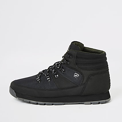 Prolific black mid top hiking boots