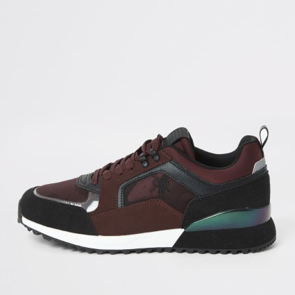 Dark red RVR camo lace-up runner trainers