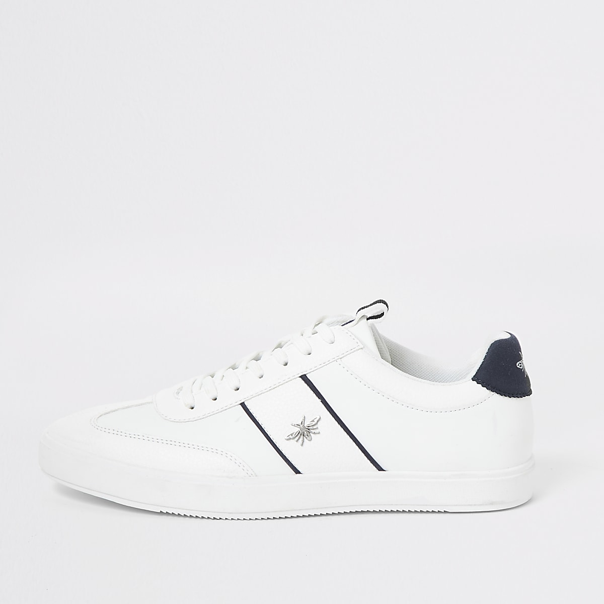 White wasp stud lace-up trainers