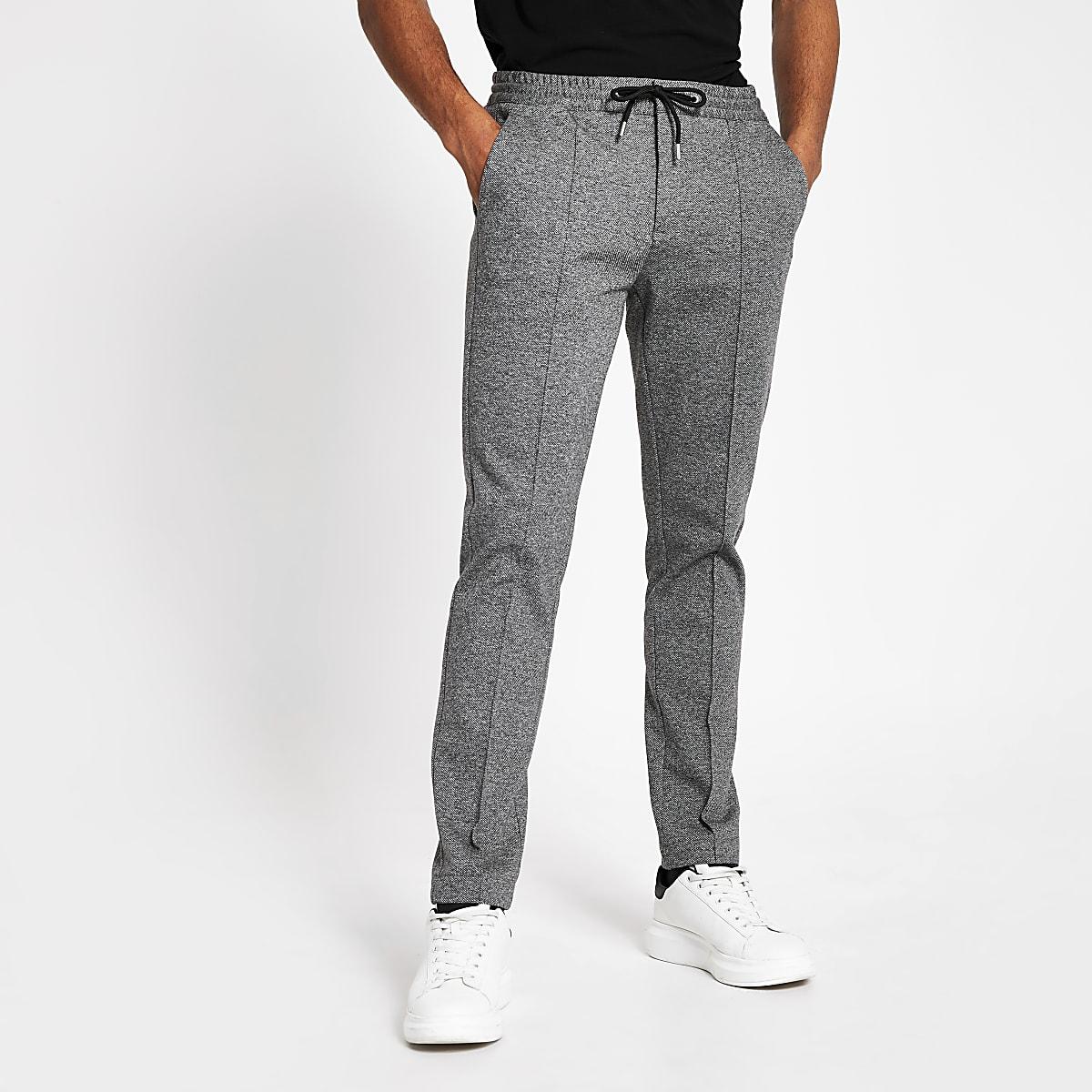 Pantalon de jogging skinny fuselé habillé gris foncé